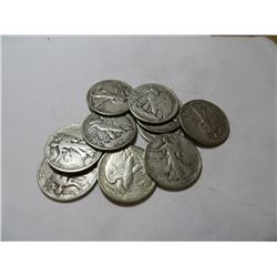 10 pcs Walking Liberty Half Dollars 90% Silver