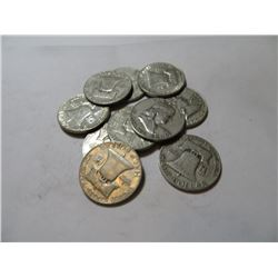 10 pcs Franklin Half Dollars 90% Silver