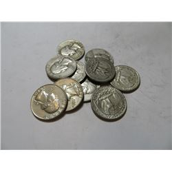 10 pcs Washington Quarters 90% Silver