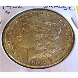 1902 S Rim Damage Better Date Morgan Dollar