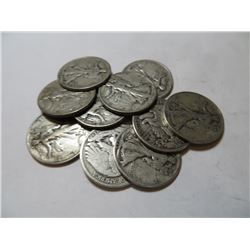 10 pcs. Walking Liberty half Dollars 90% Silver