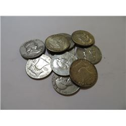 10 pcs. Franklin and Kennedy Half dollars 90%