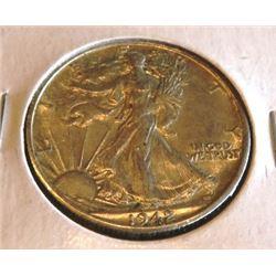 1942 S AU Grade Walking Liberty Half Dollar