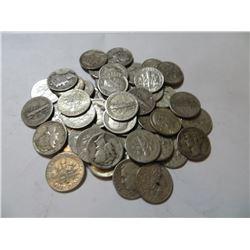 50 pcs. Mercury / Roosevelt Dimes 90% Silver
