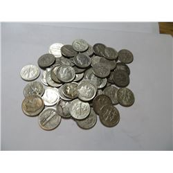 50 pcs. Mercury / Rossevelt Dimes 90% Silver