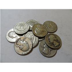 10 pcs. 90% Silver Washington Quarters