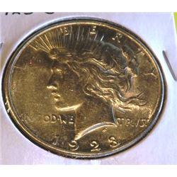 1923 S AU Grade Peace Silver Dollar