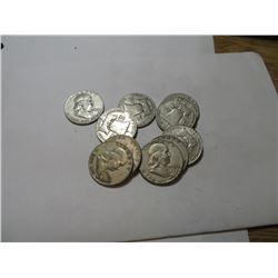 10 pcs Franklin Half Dollars 90% Silver