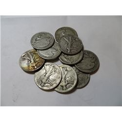 10 pcs Walking Liberty half Dollars 90% Silver