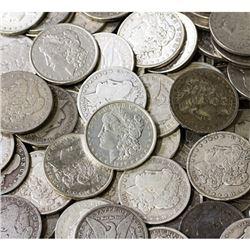 Lot of (100) Random Date and Grade Morgan Dollars