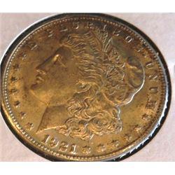 1921 S Au Grade Morgan Silver Dollar