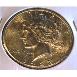 1922 S Au/BU peace Silver Dollar