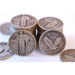 Lot of (50) Standling Liberty Quarter Dollars-90%