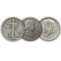 90% Silver Half Dollar Lot- Mixed Random Dates (3)