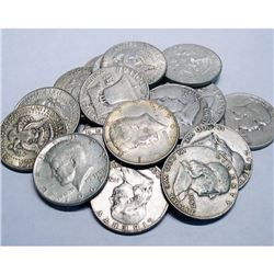 $10 Face Value Mixed Type Half Dollars-90% Silver