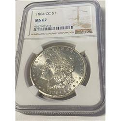 1884 MS 62 NGC Morgan Carson City Dollar