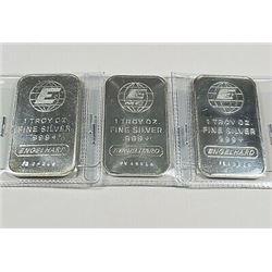 (3) 1 oz Englehard Silver Bars Collectible!