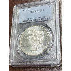 1882 S MS 65 PCGS Morgan Silver Dollar