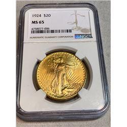1924 MS 65 NGC $20 Gold Saint Gaudens