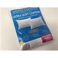 Ultra Soft Cotton Zipperedd Pillow Protectors- Standard/Queen