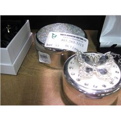 SILVER CRYSTAL TRINKET BOX AND BUTTERFLY TRINKET BOX