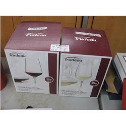 SET OF 2 TRUDEAU SPLENDIDO WINE GLASSES 4-PC EA MISSING ONE GLASS