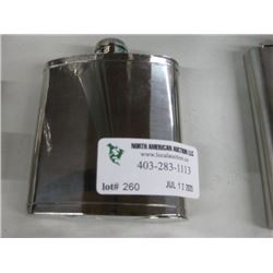 SILVER FLASK 5 OZ WITH 2 SHOTS