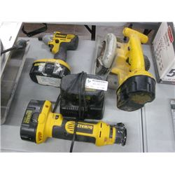 ASSORTED DEWALT TOOLS WITH BATTERY AND CHARGER