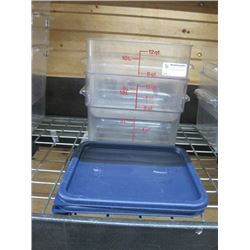 SET OF 2 CAMBRO FOOD STORAGE CONTAINER TWELVE QUART WITH LIDS