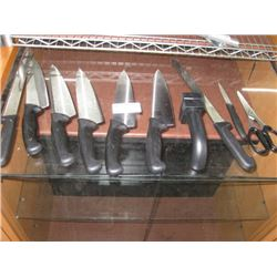 SET OF 8 KNIVES, A PAIR OF SCISSORS, AND A KNIFE SHARPENER