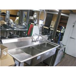 """18"""" THREE TUB SINK WITH 1.8"""" CORNER DRAIN AND LEFT DRAINBOARD AND TAP 74 INCHES LONG"""