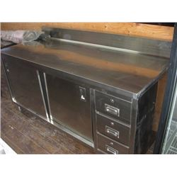 STAINLESS STEEL 72 INCH WORK COUNTER WITH CABINETS