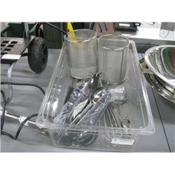 BIN OF ASSORTED STRAINERS AND LARGE UTENSILS