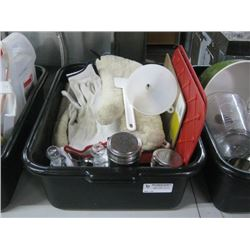 BIN OF ASSORTED RESTAURANT SUPPLIES