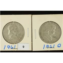 1961-P & D FRANKLIN HALF DOLLARS