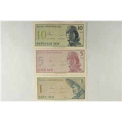 INDONESIA 1964-ONE, FIVE & TEN SENS