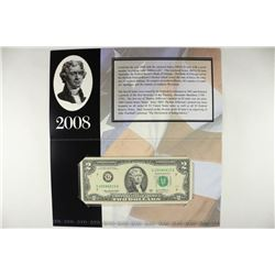2008 CHICAGO $2 SINGLE NOTE 2003-A $2 FRN SERIAL