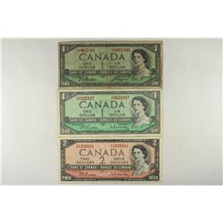 CANADA 2-1954 $1'S AND 1954 $2 CURRENCY