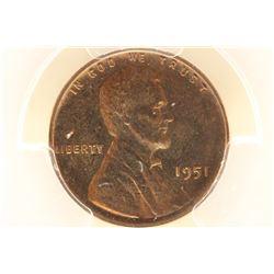 1951 LINCOLN CENT PCGS PR66RB