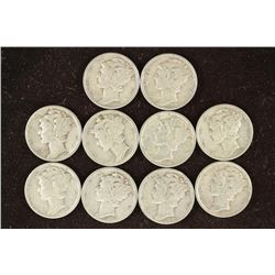 10 ASSORTED 1930'S AND 40'S MERCURY DIMES