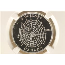 2014 CANADA SILVER $3 SPIDER AND WEB COLORIZED