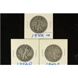 1942-P/D/S WALKING LIBERTY HALF DOLLARS
