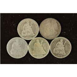 1882, 2-1887, 1888 & 1889 SEATED LIBERTY DIMES