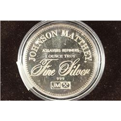 JOHNSON MATTHEY 1 TROY OZ .999 FINE SILVER ROUND