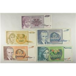 YUGOSLAVIA 5 PIECES OF 1980'S & 1990'S DINARA'S