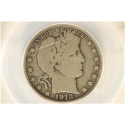 1913 BARBER HALF DOLLAR KEY DATE ANACS G6