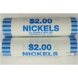 2-$2 ROLLS OF 2011-P JEFFERSON NICKELS BRILLIANT