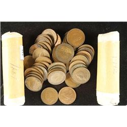 3-50 COIN SOLID DATE ROLLS OF BRITISHS FARTHINGS
