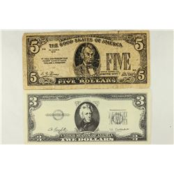 2-NOVELTY BILLS, NO GOOD IN 1965 $5 (WILL PAY TO