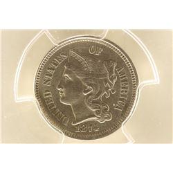 1874 THREE CENT PIECE (NICKEL) PCGS MS63